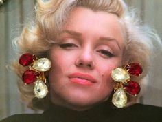 vintage hollywood glam gorgeous red and clear stone clip earrings 40's 50's art deco ruby diamonte on Etsy, $24.18