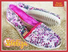 Alpargata Floral Fucsia, tallas 34 a 40. Contacto 301 6347566 - www.tiendafeliza.com