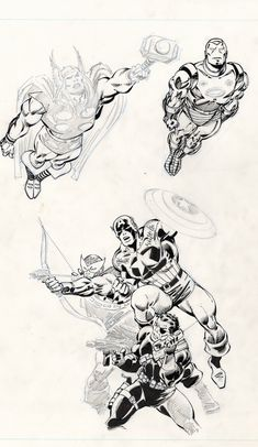 Thor, Iron Man, Captain America, Hawkeye, Nick Fury by John Buscema - Top 99 Pencil Drawings Comic Book Artists, Comic Artist, Comic Books Art, Jack Kirby, Art Sketches, Art Drawings, Pencil Drawings, Marvel Universe, John Buscema