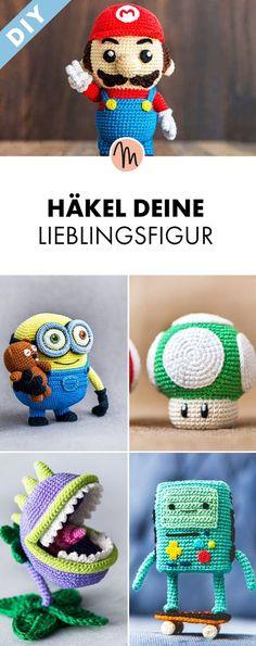 Verschiedene Nerd- und Comicfiguren aus Adventure Time, Pokemon, SUper Mario und den Minions häkeln - Häkelanleitung via Makerist.de