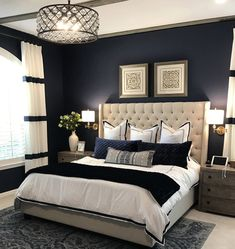 30 Modern Bedroom Designs for a new home - Fancy House Addict Fancy Bedroom, Blue Master Bedroom, Blue Bedroom Decor, Master Bedroom Interior, Master Bedroom Makeover, Home Bedroom, Modern Luxury Bedroom, Modern Bedroom Design, Contemporary Bedroom