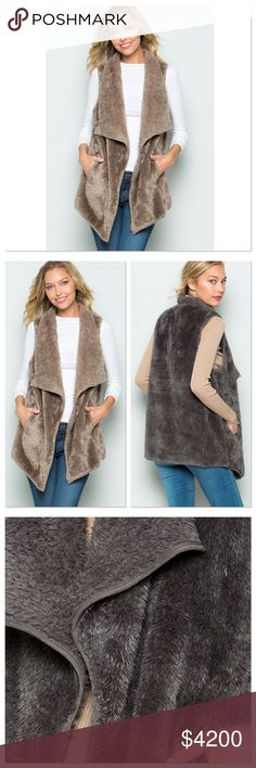 🆕 Mocha Faux Fur Vest Fabric Content:  100% Polyester  Made in the USA 🇺🇸   Will provide measurements upon request (serious buyers only please). Bundle and Save! 10% off of a bundle of 3 or more. Other