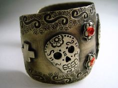 Antiqued Sugar Skull Silver Cuff Bracelet and Crosses with Orange Crystals