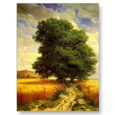 """Classic painting """"Landscape with Oak Trees"""" from splendid artist Alexandre Calame."""