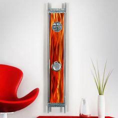 "Modern Abstract Orange Painted Corporate Metal Wall Art Decor """"Phoenix Clock"" | eBay"