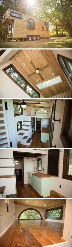 The Old World Vermont: a 300 sq ft tiny house on wheels from Perch and Nest I like the staircase.just needs a railing and a small lip from the bottom for dogs. Maybe even stickies so no one slips in socks or paws Tyni House, Tiny House Living, House Stairs, House Bath, House Floor, Loft House, Tiny House Movement, Tiny House Plans, Tiny House On Wheels