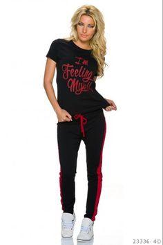 Σετ φόρμας jogging με print - Μαύρο Κόκκινο Jogging, T Shirt, Tops, Women, Fashion, Walking, Moda, Tee Shirt, Fashion Styles