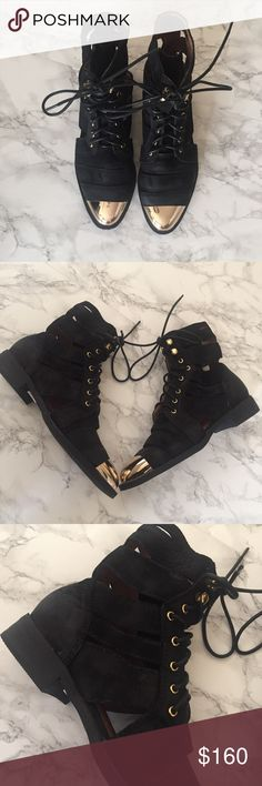 LF Jeffery Campbell cutout Boots Super cool Jeffrey Campbell boots in black with gold metal details. Brand new with tags . Refer to photos for details Jeffrey Campbell Shoes Lace Up Boots