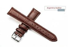 Men's or Women's Brown Replacement Leather Band for Watches 20mm Width 7.87inch Length With Spring Bars