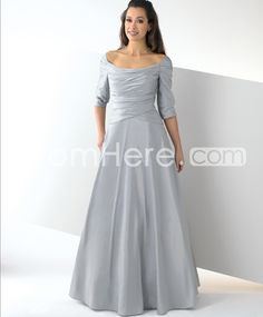 Charming Pleats Empire Waist Off-the-Shoulder Floor-Length Event/Evening Dresses