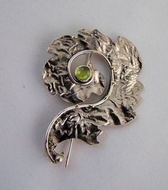 Pin Reticulated silver leaf brooch peridot and by Edenandfriends