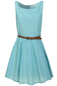 Glamorous UK | Anne Dress in Baby Blue with White Floral Print | Glamorous UK