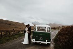 VW Campervan Wedding Transport at Wales Wedding | By Louise Griffin Photography | Wedding Car | Wedding Transport | Wedding Campervan | VW Wedding Car | Rainy Wedding | Autumn Wedding | Vintage Wedding Car | Watters Wedding Dress | Wales Wedding | Snowdonia Wedding