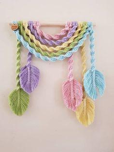 U n i c o r n Rainbow Wall Hanging image 1 - crochet crafts ideas beautiful Macrame Wall Hanging Diy, Macrame Plant Hangers, Macrame Art, Macrame Projects, Crochet Projects, Crochet Crafts, Art Macramé, Crochet Wall Hangings, Macrame Design