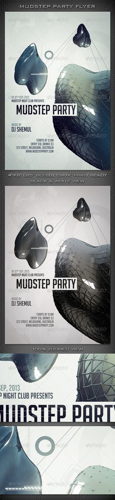 """Mudstep Party Flyer  #GraphicRiver          Mudstep Party Flyer   300 DPI, CMYK, 4""""x6"""" (4.25""""x6.25"""" with Bleeds), Print Ready  This Flyer is well Organized and Fully Editable (100% Layered).  This flyer template is for any Event, May be you can use it for a night club event/party/concert/festival or Ad.  Font used in the design is 'Big Noodle Titling'.  If you like my Item, Please Rate it & Share it with your Friends. It'll help me a lot. Thanks! Check Out Our Other Works Below…"""