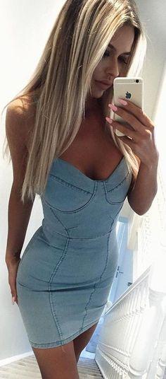 #summer #fashion #trends | Little Denim Dress