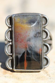 VINTAGE NAVAJO STERLING SILVER LANDSCAPE AGATE PETRIFIED WOOD ROAD 2 SUNSET RING
