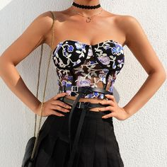 Floral Embroidery Lace Mesh Black Sexy Crop Top Women Party Clubwear Corset Lingerie Tank Tops Summer Rompers Women, Jumpsuits For Women, Selena, Cheap Tank Tops, Strapless Crop Top, Overalls Women, Jackets For Women, Clothes For Women, Summer Tank Tops