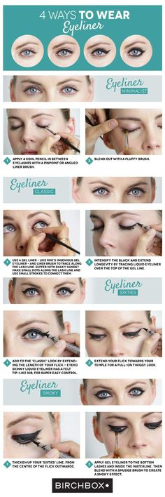 4 Ways To Wear Eyeliner - Eyeliner is one of our most treasured secret make-up weapons – you can obtain multiple looks with the right tools, from a chic feline flick to a sultry smoky eye. Birchbox France Editor Mathilde shared four top options with us – there's one for everyone...: