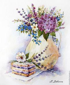 Цветы и десерт - Elena Vavilina - Ярмарка Мастеров http://www.livemaster.ru/item/17442999-kartiny-i-panno-tsvety-i-desert