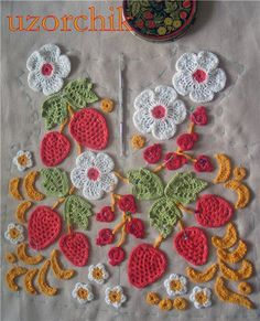 Some of the most beautiful work in Irish Crochet is being designed and exectuted in Russia-the use of colour is extraordinary