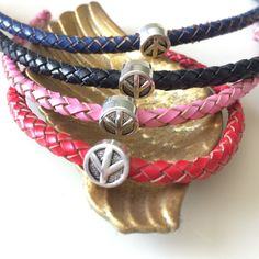 Peace Sign Leather Bracelet - Braided Leather bracelet - Gypsy Leather Bracelet- Summer Trend Leather Bracelet - Peace Sign Jewelry