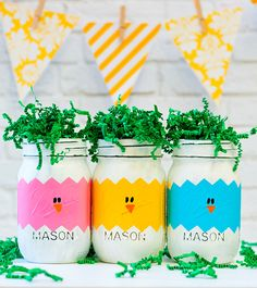Easter Peeps Mason Jars - Easter Chicks in Eggs Mason Jars - Easter Mason Jars - Painted Distressed Mason Jars by dropclothdesignco on Etsy https://www.etsy.com/listing/271344698/easter-peeps-mason-jars-easter-chicks-in