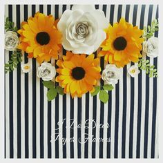 Sunflower and rose paper flower backdrop.Large paper flower wall decor for nursery von b - Fun Ideas and Suggestions Sunflowers And Roses, Paper Sunflowers, Large Paper Flowers, Paper Flower Wall, Paper Flower Backdrop, Flower Wall Decor, Sun Flowers, Red Roses, Sunflower Birthday Parties