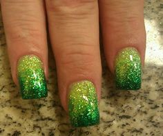green glitter fade nails