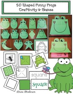 "Includes a sweet ""Ferdinand the Shapely Frog"" giggle tale too. 2d Shapes Activities, Frog Activities, Animal Matching Game, Shape Games, Frog Theme, Frog Crafts, Funny Frogs, Preschool Bulletin Boards, Science Crafts"