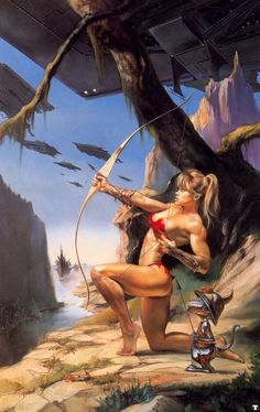 "Boris Vallejo & Julie Bell - Julie Bell : ""Defenders Of Paradise"" Boris Vallejo, Fantasy Warrior, Fantasy Girl, Sci Fi Fantasy, Space Fantasy, Warrior Queen, Warrior Girl, Julie Bell, Bell Art"