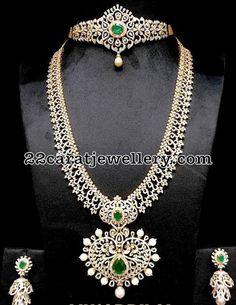 Diamond Choker and Haram - Indian Jewellery Designs Diamond Choker Necklace, Diamond Bracelets, Diamond Jewelry, Gold Jewelry, Jewelery, Fine Jewelry, Diamond Jhumkas, Jewelry Sets, Stone Necklace