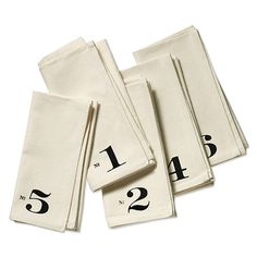 Numbered napkins by Heather Lins: Martha Stewart American Made Winner