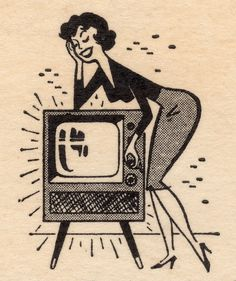 Television & Woman - matchbook cover art in Collectibles, Photographic Images, Contemporary Other Contemporary Photographs Pop Art Vintage, Vintage Drawing, Retro Art, Retro Vintage, Vintage Cartoons, Vintage Comics, Vintage Posters, Illustrations Vintage, Retro Illustration