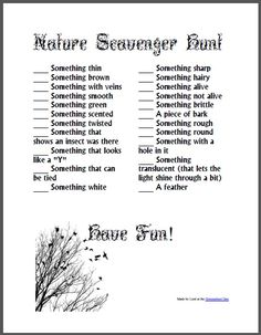 & Scavenger Hunt& by Lisa Den. ~This looks like a fun Kindergarten activity for a summertime prelude into nature/earth/biology science. Scavenger Hunt List, Outdoor Scavenger Hunts, Nature Scavenger Hunts, Scavenger Hunt For Kids, Nature Activities, Summer Activities, Family Activities, Outdoor Activities, Outdoor Learning