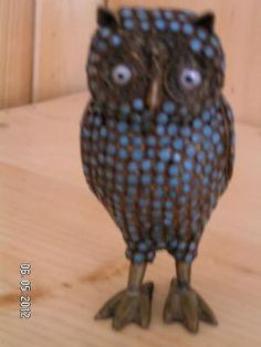 ANTIQUE BRASS OWL WITH CORAL/ BLUE BEADS