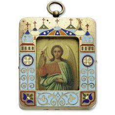 russian icon pendant of the guardian angel, dimitri smirnov, moscow, circa 1910