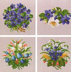 Ellen Maurer-Stroh Floral Collection Vol 3 - Cross Stitch Pattern. Stitch on fabric of your choice using DMC floss. Stitch count for largest motif: 115 x 74.