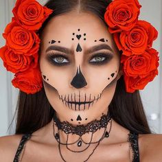 77f21649985 Pretty Sugar Skull Makeup Idea for Halloween