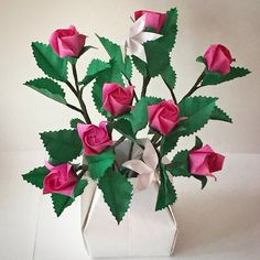 Pink roses in papervase