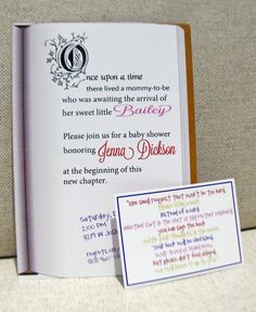 I love the little card with the rhyme about bringing a book instead of a card! That way you'll have books to fill the shelves that you're thinking about putting behind the door :)