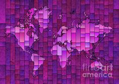 World Map Glasa in Purple by elevencorners. World map wall print decor. #elevencorners #mapglasa