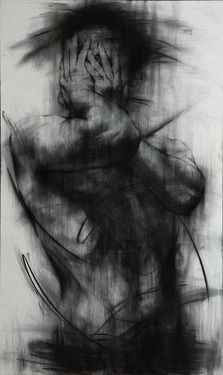 """Saatchi Online Artist KwangHo Shin; Drawing, """"[90] untitled charcoal  on canvas 162 x 96.5 cm 2013 [Exhibition]"""" #art"""