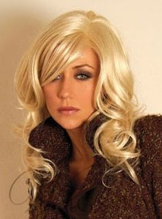 Charming Blonde Long Wavy Wig Synthetic Hair