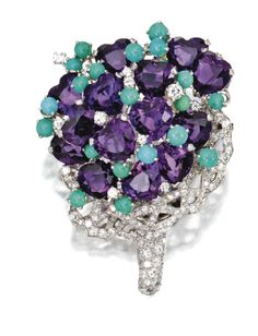 Platinum, heart-shaped amethyst and turquoise and diamond flower brooch by Verdura, circa 1949.