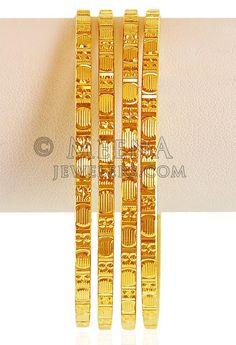 22kt Gold Machine Bangles (4 Pcs) ( Gold Bangles )