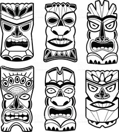 Hawaiian tiki statue masks black and white set. Vector illustration set of cartoon carved Hawaiian tiki god statue black and white masks. Tiki Tattoo, Totem Koh Lanta, Totem Tiki, Kho Lanta, Tiki Maske, Theme Carnaval, Tiki Faces, Tiki Statues, Angel Statues