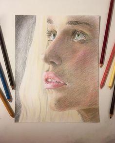 Emilia Clarke, Prismacolor, A4, Give It To Me, Challenge, Drawings, Paper, Instagram, Decor