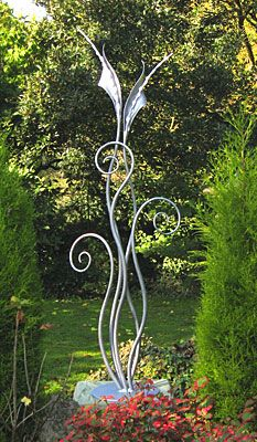 contemporary floral garden sculpture