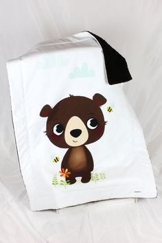 Infant Minky Baby Blanket for Girl and Boy Bear Bee brown